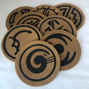 Set of 8 Hopi Kaibabs Leather Suede Coasters